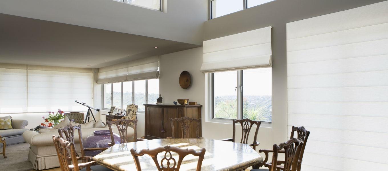Roman blinds living room